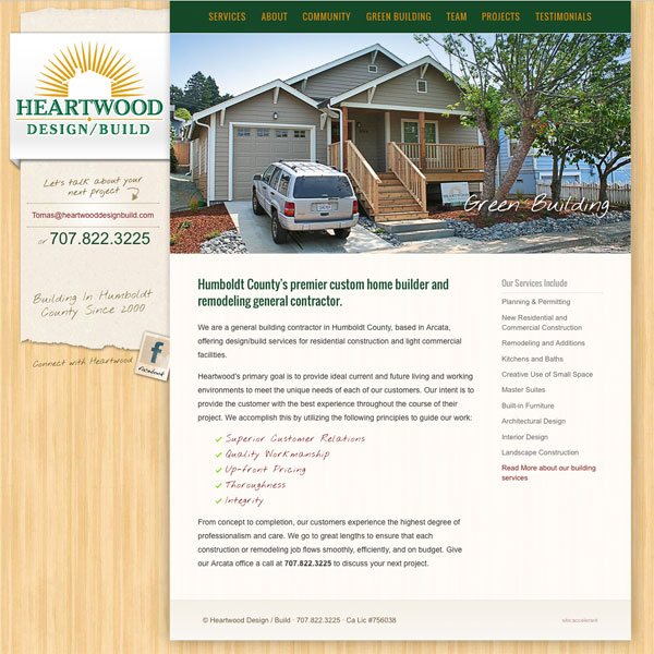 Heartwood Design Build web design